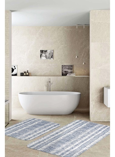 Hamur Denim 2 'li Set Banyo Paspası Kaymaz Taban Banyo Halısı Renkli